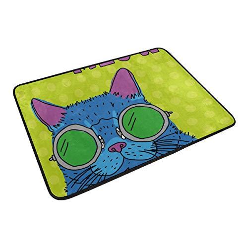 FANTAZIO Fußmatten für den Eingangsbereich im Freien, Katze mit Brille, gerader Teppich für Küche/Badezimmer, 59,9 x 39,9 cm
