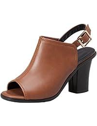 JOJONUNU Mujer Tacon Ancho Sandalias  Zapatos de moda en línea Obtenga el mejor descuento de venta caliente-Descuento más grande