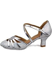 HROYL Zapatos de Baile/Zapatos Latinos de Cuero Para Mujeres Zapatillas Sala Dance Ballroom EC5-F12