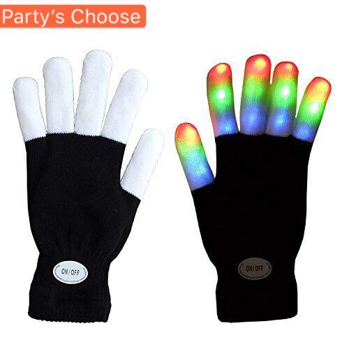 (FOONEE LED-Lichthandschuhe, Blinkende Fingerlichter Spielzeug mit 3 Bunten Lichtern und 6 Leuchtmodi LED-Fingerhandschuhe für Halloween, Weihnachten, Party, Motorrad, Radfahren, Tanz)