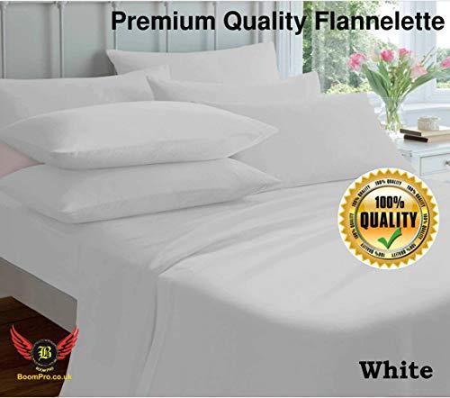 BoomPro 4-teiliges Bettwäsche-Set aus 100% gebürsteter Baumwollflanell, Spannbetttuch, Bettlaken und Kissenbezügen, weiß, Super King