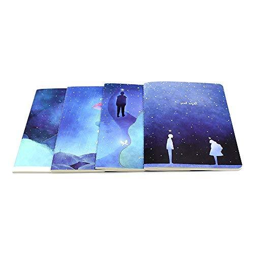 Träume 4 Stück Set (Lvcky 4 Stück Neuheit B5 liniert Übungs-Notizbuch Pack Tagebuch Notizblock für Kinder Mädchen Reise Set Traum)