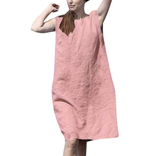 Chejarity Kleider Damen Ärmellos Sommerkleider Elegante Frauen Lose Minikleid Boho Beachwear Baumwolle Strandkleider Urlaub Etuikleid Tunika Kleid (XL, Rosa) (Formale Rosa Kleider Für Frauen)