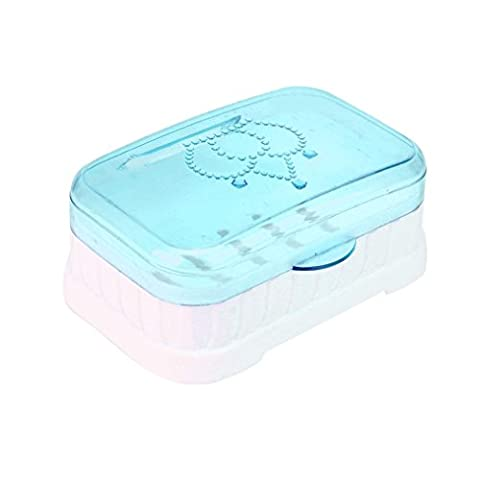 Gaddrt Boîte à savon plaque de douche randonnée salle de bains maison case conteneur de voyage nouveau (Bleu)