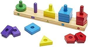 Melissa & Doug- Stack & Sort Board Tablero para Apilar y Clasificar, Multicolor (379)