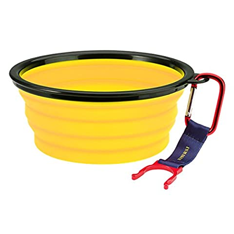INMAKER Collapsible Dog Bowl, FDA Approved Silicone Pet Bowl for Dog Cat, BPA Free Portable Travel Bowl (Yellow 5 Cup)