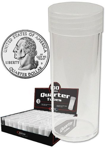 4 Round Coin Storage Tubes with Screw Caps - Penny - Nickel - Dime & Quarter by BCW - Made in the USA