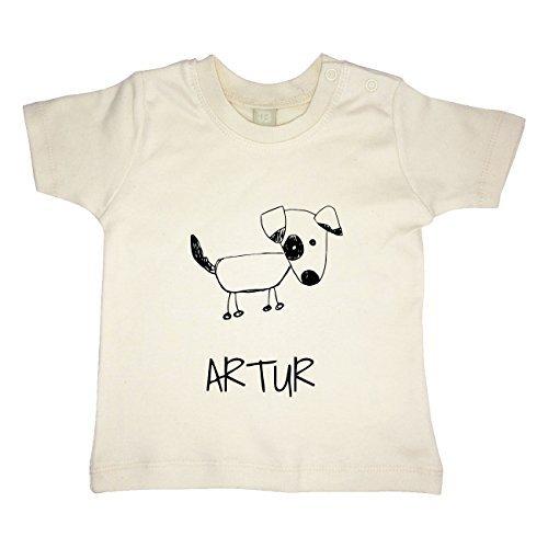 Bio-hund Tee (JOllipets Baby Kinder T-Shirt - ARTUR - 100% BIO ORGANISCH - Design: Hund – Grösse: 6-12)