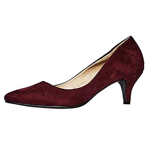 ByPublicDemand Miranda Womens Low Kitten Heel Slip On P Wine Red Faux Suede 8 UK / 41 EU