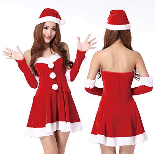 WFTD Weihnachtsmann Kostüm Frauen Tube Top Dress Weihnachten Hut Samt Fancy Abendkleid Set Rot (Weihnachts Top Hut)