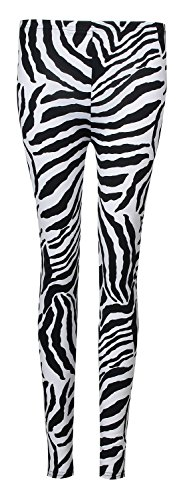 Fast Fashion donna 2 teiliges Set Zebra stampa Canotta Top Leggings Legging Schwarz/Weiß (Zebra Leggings Set)