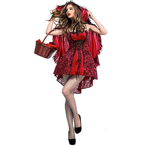 (LYQ Princess Damen Little Red Riding Kapuzen Cape Fancy Dress up Party Halloween Kostüm Gothic Stil Bühne Costuming)