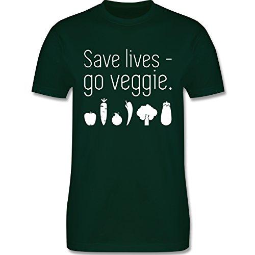 Küche - Save lives - go veggie - Herren Premium T-Shirt Dunkelgrün
