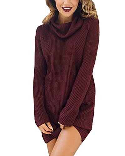 Damen Herbst Winter Pullover Kleid Strickpulli Langarm Lose Sweater Lang Oberteile Jumper Pulli Burgunderrot M