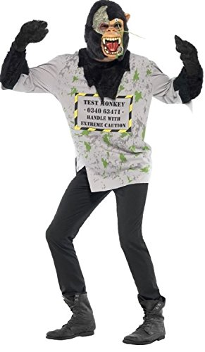 abor Experiment Tier Halloween Kostüm Kleid Outfit - grau, Medium (Affe Halloween-maske)