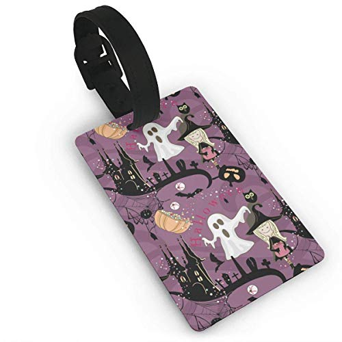 Halloween Pattern Travel Labels Accessories with Name Card Funny Suitcase Custom Fancy Gift Patterned Airline Handbag PVC Size 2.2'' X 3.7'' ()