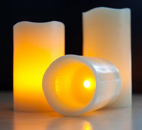Mooncandles - Juego de velas con temporizador y control remoto (cera, funcionan con pilas,3 unidades)