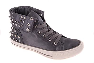DIESEL Ladies Trainers Shoes Boots High#12 Grey Gray Size ...