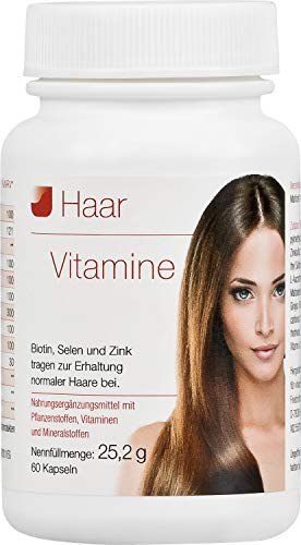 Vihado Haar-Vitamine - intensiv Vitalformel, Biotin + Selen + Zink, 60 Kapseln, 1er Pack (1 x 25,2...