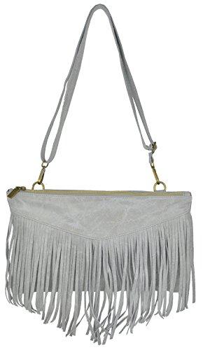 Bags4Less Clutch / Umhängetasche mit Fransen Caro aus echtem Leder (Dunkelgrau Glattleder) Hellgrau Glattleder