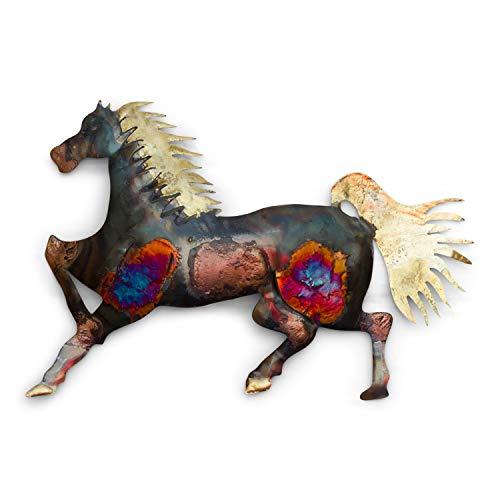 Tumia LAC Wanddekoration Laufendes Pferd, recyceltes Metall, 26 cm, handgefertigt