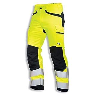 Uvex Protection Flash Pantalones de Seguridad – Pantalón de Trabajo – Alta Visibilidad con Cintas Reflectantes y Multibolsillos – Amarillo