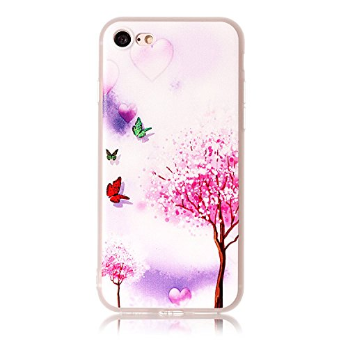 Cover per iPhone 7 4.7, Custodia iphone 8 Morbido, iphone 7 Custodia Silicone, MoreChioce Moda Funny Cute Fiore Animal Painting Colorato Custodia, Ultra Slim 3d Gel Soft Silicone Gomma Morbido TPU Tra Farfalla e Albero
