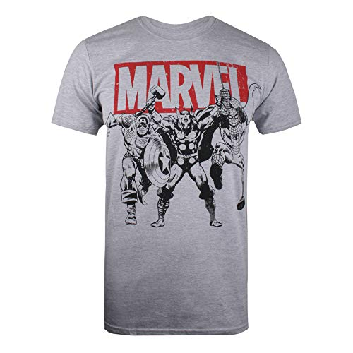 Marvel Trio Heroes T-Shirt, Gris (Grey Marl SPO),...