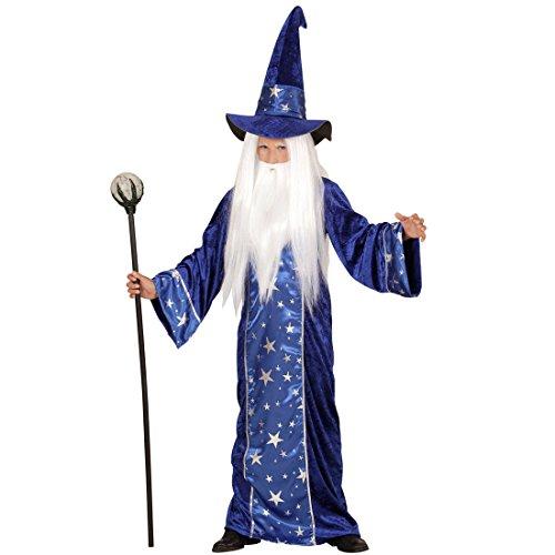 Amakando Halloween Verkleidung Hexer - 116, 4 - 5 Jahre - Magier Kinderkostüm Märchen Fantasy Outfit Gandalf Zaubererkostüm Zauberumhang Jungen Kleiner Zauberer (Hexer Kostüm Für Jungen)