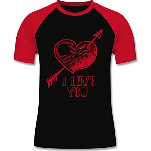 Valentinstag - Herz I Love You Pfeil - zweifarbiges Baseballshirt für Männer Schwarz/Rot