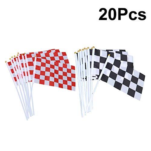 Checkered Flag Stick (YeahiBaby 20pcs Checkered Racing Flags mit Stick Mini Hand Race Car Fahnen Race Car Party Dekorationen Supplies Festival Veranstaltungen Feier)
