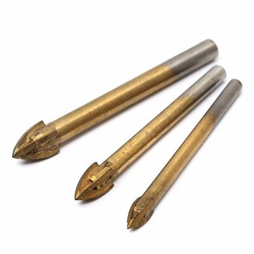 mark8shop 36/8/10mm Titan-Hartmetall-Tile Glas Bohrer Kreuz Spear Point Kopf Bohrer