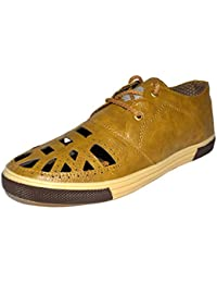 Mens Casual Sneakers Tan Lace Up Shoes With Upper Cutting Work