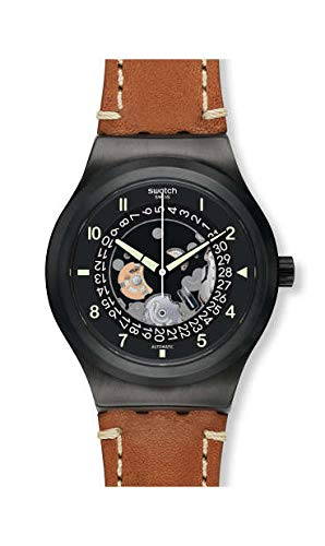 Swatch Orologio Analogueico Automatico Uomo con Cinturino in Pelle YIB402