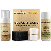 KIT Mantenimiento cuero/piel con limpiador fuerte Colourlock® limpia a fondo cueros muy sucios y mantiene y protege el cuero de sofás, coches, ropa, bolsos