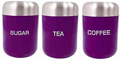 Zodiac auberginefarbenes Vorratsbehälter-Set 3-teiligfür Tee Kaffee Zucker
