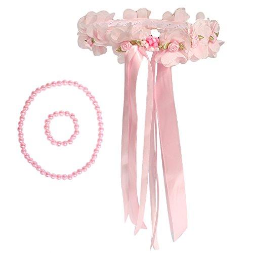 (kilofly Blume Mädchen Hochzeit Blumenkranz Genickstück + Halskette Armband Set)