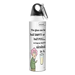 Tree-Free Greetings VB47790 Aunty Acid Artful Traveler Stainless Steel Water Bottle, 18-Ounce, Half Full