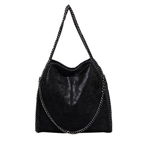 Mioy donna moda borsa a tracolla pelle tinta unita borse a mano casual ragazze borsetta tracolla (nero-1)