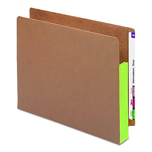 SMEAD Ende Tab Tasche, verstärkte gerade geschnittene Tab, 3-1/5,1cm Expansion, extra breit Buchstabe Größe, Redrope mit Seitenfalte grün, 10Stück pro Box (73680) (Datei-ordner Registerkarte Tasche)