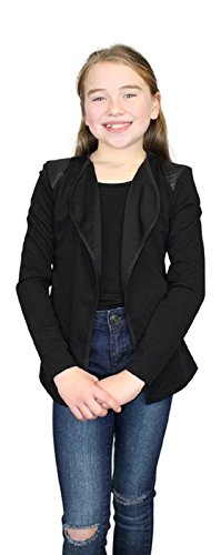Ozmoint Kids Childrens Girls Textured Fabric Open Front Long Sleeve Cardigan Gillet With Black Patches On Shoulder Detail Top