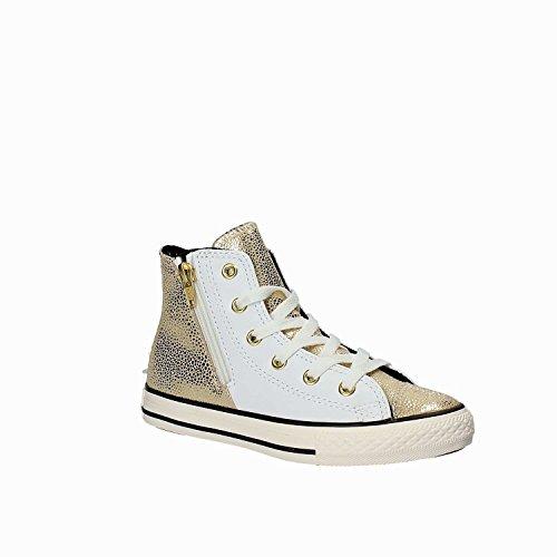 CONVERSE - Sneaker stringata bianca e dorata, in pelle, con chiusura zip laterale, logo laterale, cuciture a vista e suola in gomma, Bambina, Ragazza, Donna ORO-BIANCO