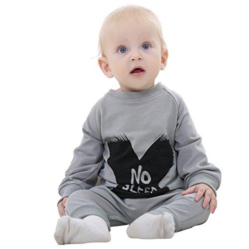 MICHLEY Bebé Niño Niño Mono Algodón Negro Y Gris, One-piece Bebé Mameluco, Primavera, Ropa de Otoño Para Bebés por 19-24 meses