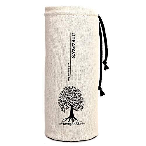 amapodo Cover, Flaschen Hülle, Tasche, Schutzhülle für Trinkflaschen, Thermobecher, Teebereiter, Teeflaschen mit Ø von 6-8cm (Natur)