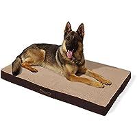 [Gesponsert]brunolie Buddy Hundebett waschbar, orthopädisch und rutschfest, Hundekissen mit kuscheligem Plüsch, Größe XL, braun