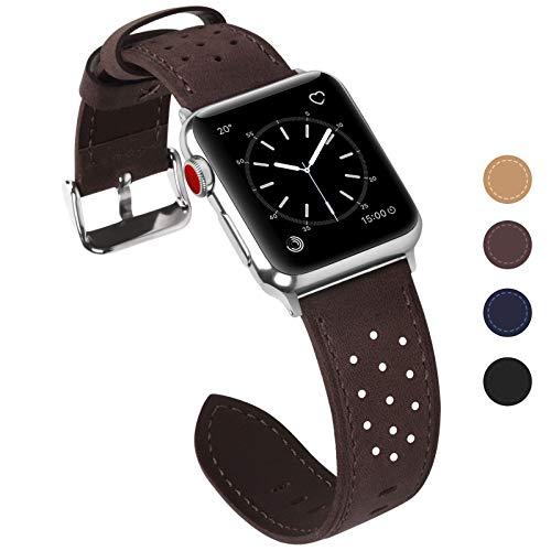 Fullmosa Kompatible Apple Watch Armband 42mm Series3, Breeze Lederarmband Ersatzband für iWatch Armband Serie 3 2 1 Hermes und Nike + Edition,42mm,Kaffeebraun
