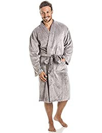Camille - Robe de chambre pour homme - polaire douce - gris
