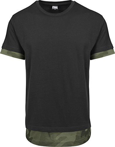 Urban Classics Herren T-Shirt Long Shaped Camo Inset Tee, Mehrfarbig (Black/Olive Camo 01237), X-Large (Fashion Tee Camo)