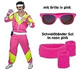 Herren 80 er Jahre Trainingsanzug - Jogginganzug Gr. S bis XXL - pink - Partnerkostüm mit Brille, Schweißbänder (Large)