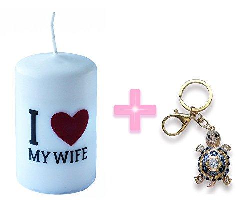 I Love My Wife Vela tamaño 6cm x 10cm + Dark color azul Rhinestone Tortuga (Black Tortoise Charm)